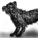Perro negro en guardia